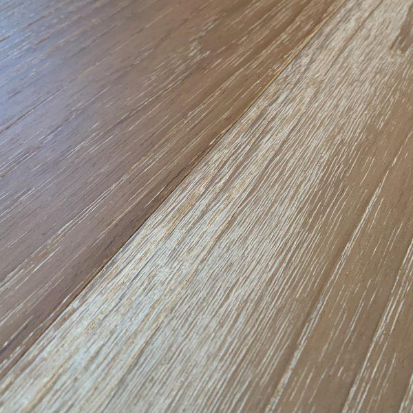 Teak Hardwood Flooring Wire Brush Raw And Finished Beachy Teak